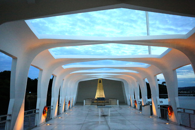 On the morning of Monday December 5, 2016, the USS Arizona Memorial sits peacefully over the 1,177 men who died onboard during the December 7th surprise attack on Pearl Harbor. (Michael Quine/Las  ...