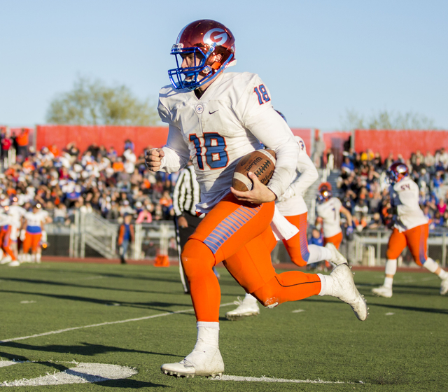 Bishop Gordan's Tate Martell (18), with the ball during the Sunset Region football final between Bishop Gorman and Arbor View at Arbor View High School, Saturday, Nov. 26, 2016, Las Vegas. Bishop  ...