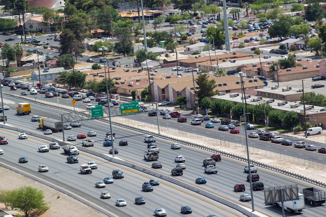 Interstate 15 is seen below from the World Market Center in Las Vegas on Wednesday, June 10, 2015. (Chase Stevens/Las Vegas Review-Journal)