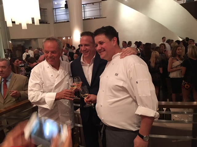 Wolfgang Puck, David Robins and Eric Klein host Sip & Savor benefiting Keep Memory Alive at Spago on Wednesday, Sept. 14, 2016, in The Forum Shops at Caesars Palace. (Don Chareunsy/Las Vegas R ...
