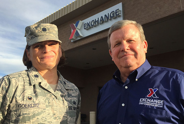 Tom Shull, right, director of the Army and Air Force Exchange Service, poses, Wednesday, Oct. 12, 2016, outside the Nellis Air Force Base Exchange with Lt. Col. Cristin Goerlitz, 99th Force Suppor ...