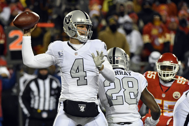 In a Thursday, Dec. 8, 2016 file photo, Oakland Raiders quarterback Derek Carr (4) throws during the first half of an NFL game against the Kansas City Chiefs in Kansas City, Mo. (AP Photo/Ed Zurga ...
