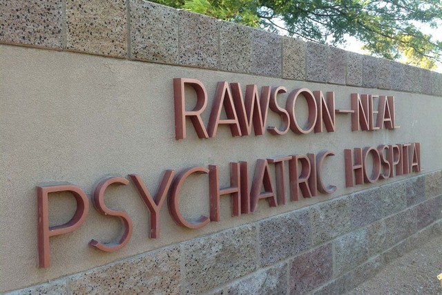 A sign outside the Rawson-Neal Psychiatric Hospital at Jones Boulevard and Oakey Boulevard in Las Vegas, is shown Thursday, July 25, 2013. (Greg Haas/Las Vegas Review-Journal)