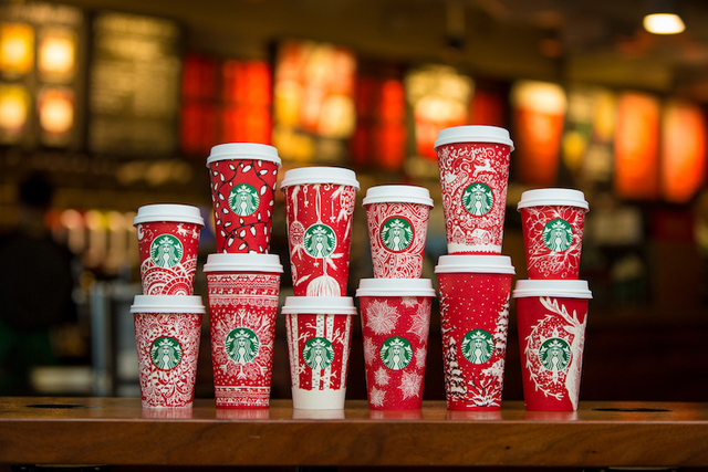 Starbucks red holiday cups photographed on November 9, 2016.  (Joshua Trujillo/Starbucks)