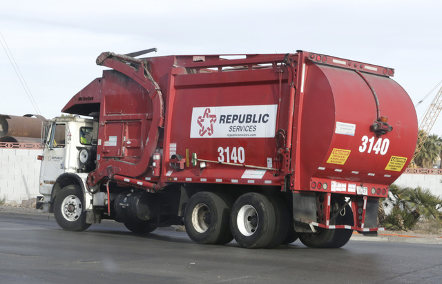 A Republic Services of Southern Nevada truck returns to the company's disposal facility Wednesday, Dec. 7, 2016, in North Las Vegas. Wednesday, Dec. 7, 2016, in North Las Vegas. (Bizuayehu Tesfaye ...