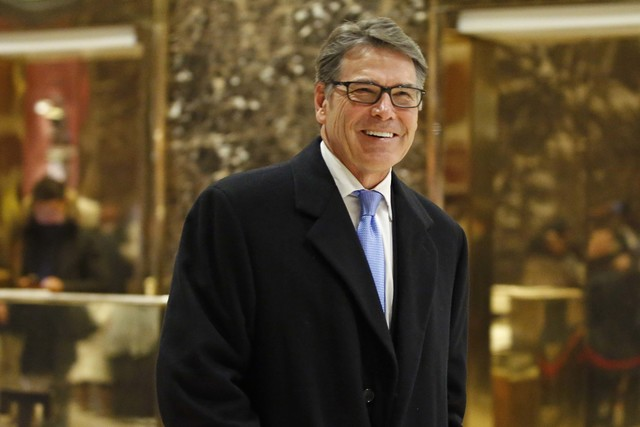Former Texas Gov. Rick Perry leaves Trump Tower, Monday, Dec. 12, 2016, in New York. (Kathy Willens/AP)