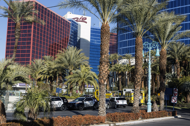 Emergency vehicles line up in front of the Rio on Thursday, Dec. 29, 2016. The resort was evacuated after another electrical fire broke out Thursday morning. (Jeff Scheid/Las Vegas Review-Journal) ...