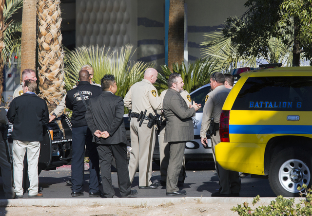Emergency personnel gather in front of the Rio on Thursday, Dec. 29, 2016. The resort was evacuated after another electrical fire broke out Thursday morning. (Jeff Scheid/Las Vegas Review-Journal) ...