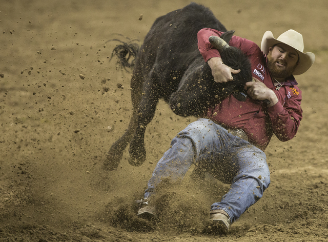 Jason Thomas competes in the steer wrestling competition on the ninth day of the National Finals Rodeo at the Thomas & Mack Center on Friday, Dec. 9, 2016, in Las Vegas. (Benjamin Hager/Las Ve ...