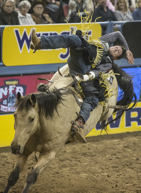 Tanner Aus rides Assault during the bareback riding competition at the National Finals Rodeo at the Thomas & Mack Center on Thursday, Dec. 8, 2016, in Las Vegas. (Benjamin Hager/Las Vegas Revi ...