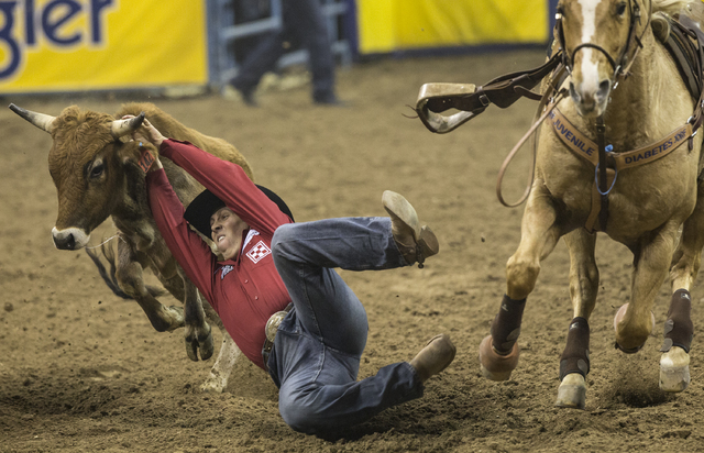 Riley Duvall leaps to tackle a steer during steer wrestling at the National Finals Rodeo at the Thomas & Mack Center on Thursday, Dec. 8, 2016, in Las Vegas. (Benjamin Hager/Las Vegas Review-J ...