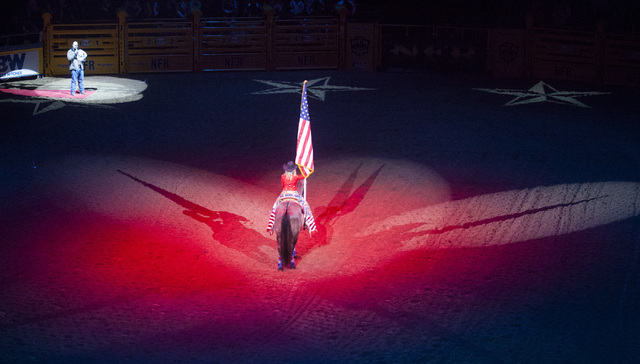 The National Anthem is performed during the fourth day of the National Finals Rodeo at the Thomas & Mack Center in Las Vegas on Friday, Dec. 4, 2016. (Miranda Alam/Las Vegas Review-Journal) @m ...
