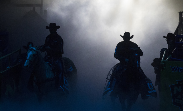 Cowboys during the fourth day of the National Finals Rodeo at the Thomas & Mack Center in Las Vegas on Friday, Dec. 4, 2016. (Miranda Alam/Las Vegas Review-Journal) @miranda_alam