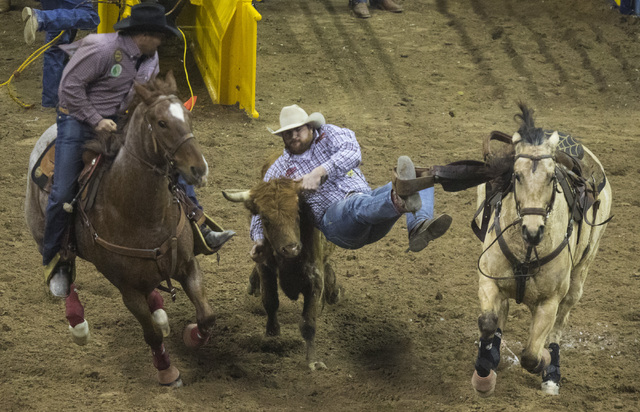 Jason Thomas competes in the steer wrestling event during the fourth day of the National Finals Rodeo at the Thomas & Mack Center in Las Vegas on Friday, Dec. 4, 2016. (Miranda Alam/Las Vegas  ...