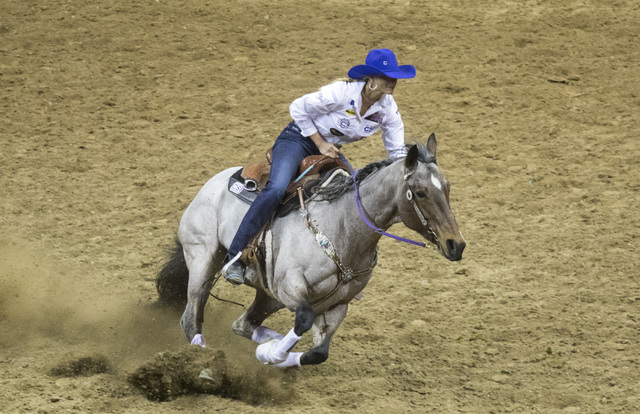 Sarah Rose competes in the barrel racing event during the fourth day of the National Finals Rodeo at the Thomas & Mack Center in Las Vegas on Friday, Dec. 4, 2016. (Miranda Alam/Las Vegas Revi ...