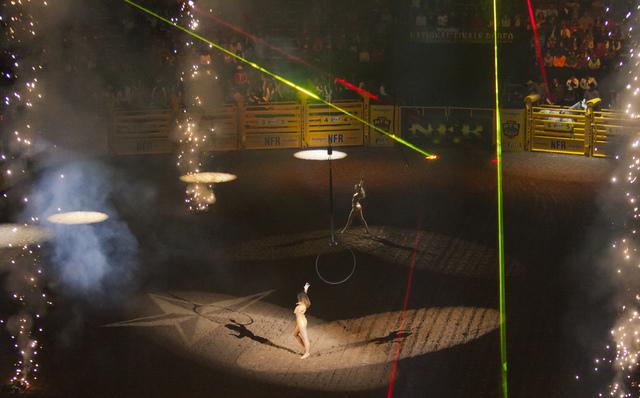 Opening ceremonies before the final night of the National Finals Rodeo at the Thomas & Mack Center in Las Vegas on Saturday, Dec. 9, 2016. (Miranda Alam/Las Vegas Review-Journal) @miranda_alam