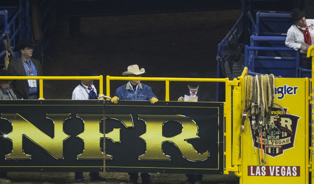 Bareback riding competition on the final night of the National Finals Rodeo at the Thomas & Mack Center in Las Vegas on Saturday, Dec. 9, 2016. (Miranda Alam/Las Vegas Review-Journal) @miranda ...