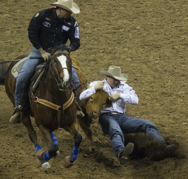 Dakota Eldridge competes during the steer wrestling competition on the final night of the National Finals Rodeo at the Thomas & Mack Center in Las Vegas on Saturday, Dec. 9, 2016. (Miranda Ala ...