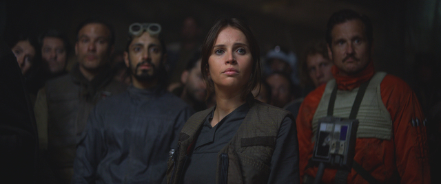 "Jyn Erso (Felicity Jones) and Bodhi Rook (Riz Ahmed) star in ""Rogue One: A Star Wars Story."" (Lucasfilm Ltd.)"