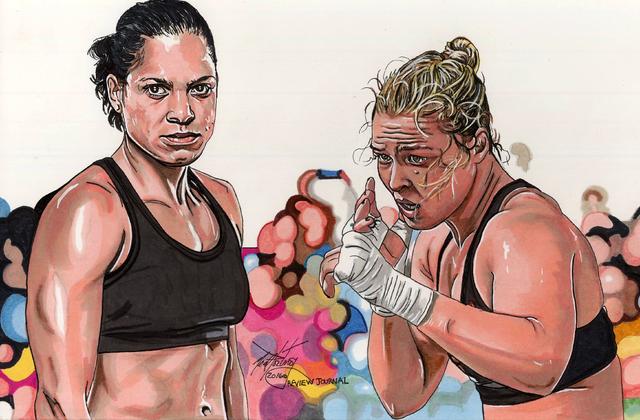 Amanda, Nunes, left, and Ronda Rousey. (Illustration by Neal Portnoy)