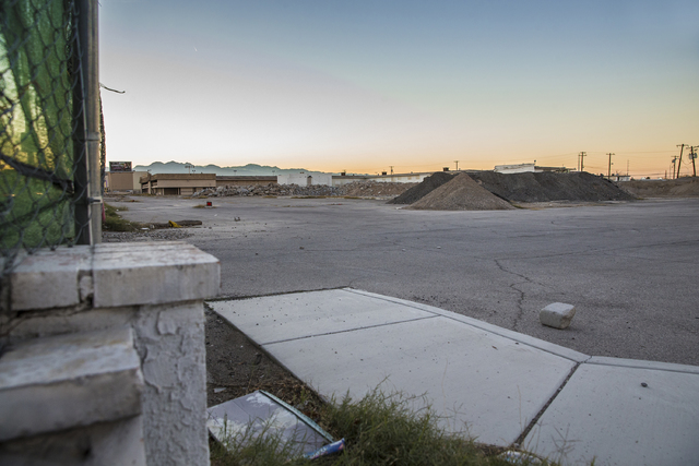 The vacant lot where the Moulin Rouge, the first desegregated hotel-casino listed on the United States National Register of Historic Places, once sat on Wednesday, Dec. 28, 2016, in Las Vegas. The ...