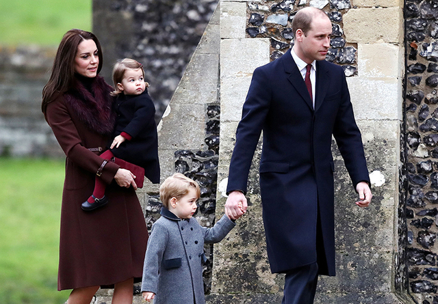 Britain's Prince William and Kate, the Duchess of Cambridge with their children Prince George and Princess Charlotte arrive to attend the morning Christmas Day service at St Mark's Church in Engle ...