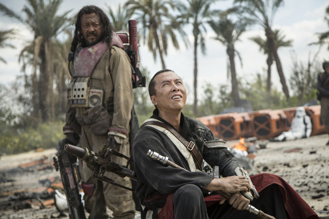 "Baze Malbus (Jiang Wen), left, and Chirrut Imwe (Donnie Yen) star in ""Rogue One: A Star Wars Story."" (Jonathan Olley/Lucasfilm Ltd.)"