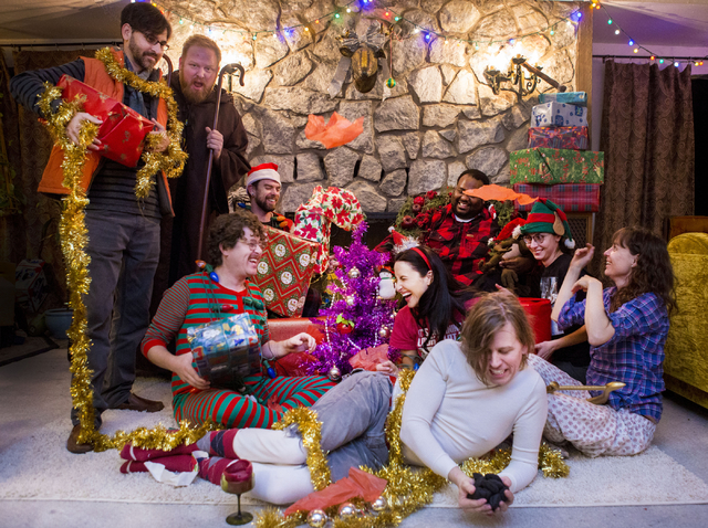 The local Las Vegas indie band, Same Sex Mary, poses for a photo with cast members for A Very Merry Same Sex Mary Christmas Spectacular, in a band members home in Las Vegas, Thursday, Dec. 15, 201 ...