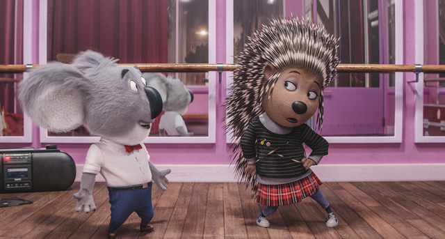 "Matthew McConaughey as dapper koala Buster Moon and Scarlett Johansson as Ash, a punk-rock porcupine struggling to shed her arrogant boyfriend and go solo, in the event film ""Sing.""(Illumination E ..."