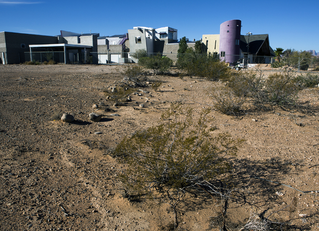 The Slammer, the former home of magician Penn Jillette, in southwest Las Vegas, is seen Tuesday, Nov., 15, 2016. American West Homes bought the mansion and is schedule to demolish it for a new hou ...