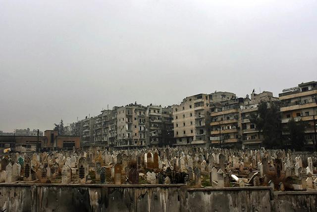 A graveyard in east Aleppo, Syria. (SANA via AP)