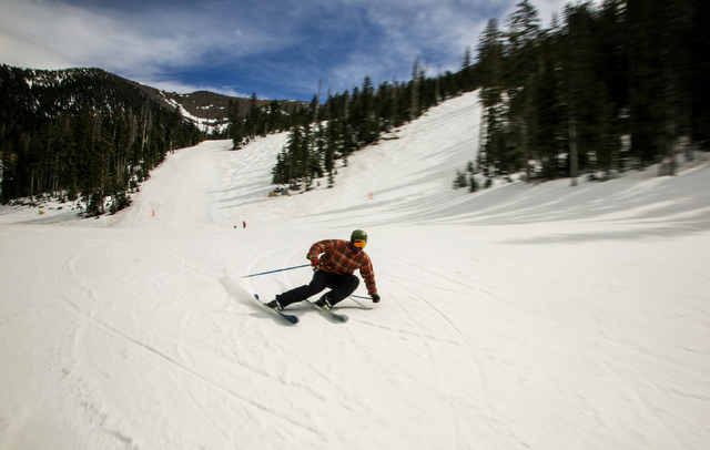 Scott Cumberland of Anchorage, Alaska, cruises down a trail at Arizona Snowbowl on March 5, 2016. The resort, just outside of Flagstaff, has been in operation since 1938, making it one of the long ...
