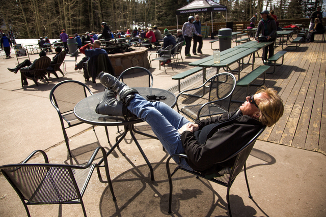 A man enjoys the sun at Arizona Snowbowl on March 5, 2016. The resort is just outside of Flagstaff and has been in operation since 1938, making it one of the longest continually running ski resort ...