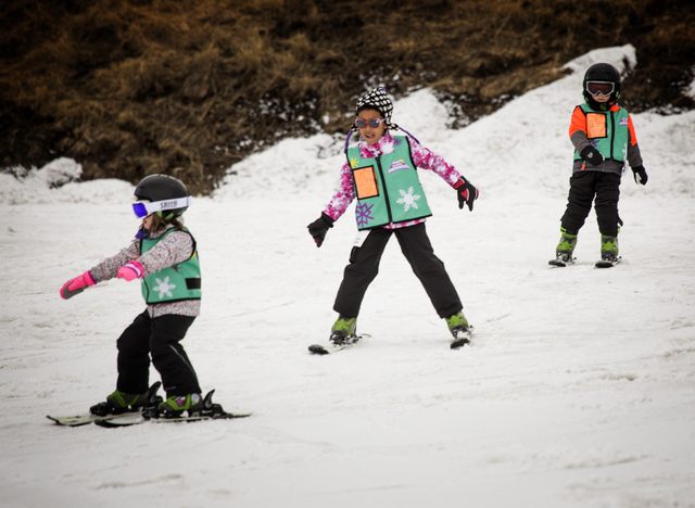 Young skiers practice turning at Arizona Snowbowl on March 6, 2016. The resort is just outside of Flagstaff and has been in operation since 1938, making it one of the longest continually running s ...