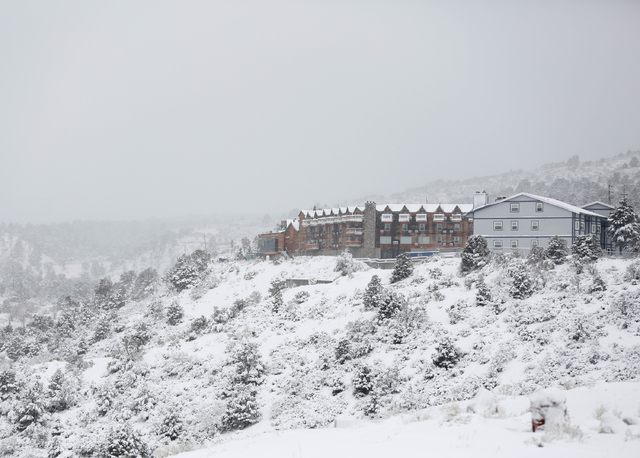 The Resort on Mount Charleston on Saturday, Dec. 24, 2016 in Mount Charleston. About 15 to 18 inches of snow fell at the 9,000-foot level over the weekend. (David Guzman/Las Vegas Review-Journal)  ...
