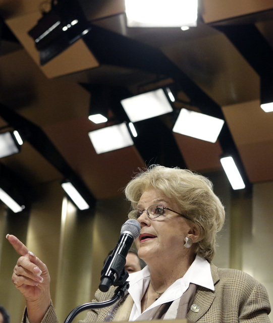 Las Vegas Mayor Carolyn Goodman announces the cityճ latest efforts to become a fully sustainable city during a press conference at City Hall Monday, Dec. 12, 2016, in Las Vegas. (Bizuayehu T ...