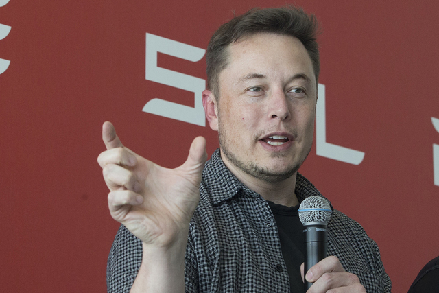 Tesla Motors Inc. CEO Elon Musk discusses the company's new Gigafactory Tuesday, July 26, 2016, in Sparks, Nev. It's Tesla Motors biggest bet yet: a massive, $5 billion factory in the Nevada deser ...