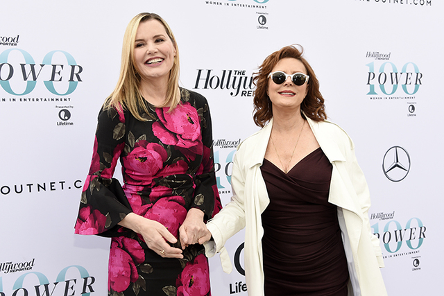 """Actors Geena Davis, left, and Susan Sarandon, co-stars of the 1991 film """"Thelma & Louise,"""" pose at The Hollywood Reporter's 25th Annual Women in Entertainment Breakfast at MI ..."""