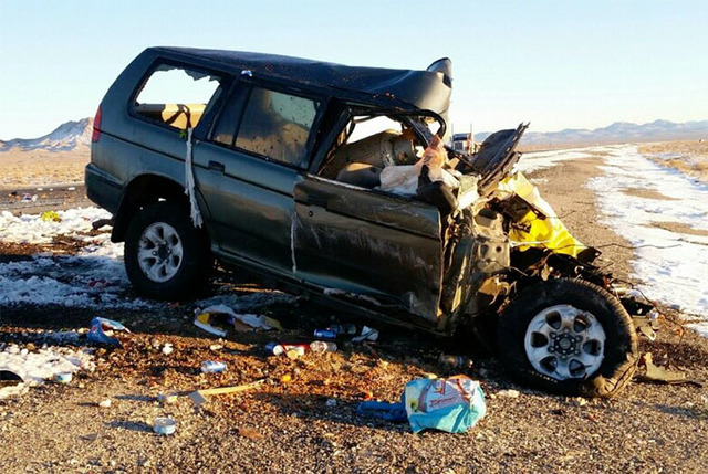 Scene of a crash on U.S. Highway 95 between Tonopah and Goldfield on Dec. 28, 2016. (Nevada Highway Patrol)