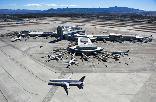 A view of McCarran International Airport D Gate is seen from the new FAA Tower on Monday, Oct. 17, 2016. (Jeff Scheid/Las Vegas Review-Journal Follow @jeffscheid)