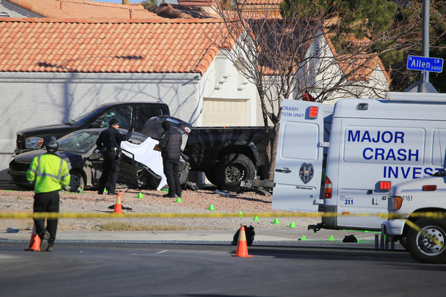 Police investigate a fatal crash at the intersection of Allen Lane and Colton Ave in North Las Vegas on Saturday, Dec. 17, 2016. (Brett Le Blanc/Las Vegas Review-Journal) Follow @bleblancphoto