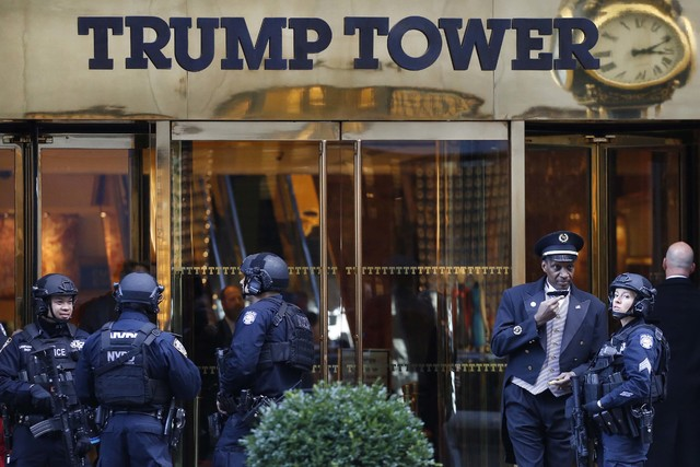 Members of the New York Police Department's counterterrorism unit guard Trump Tower in New York, Nov. 14, 2016. (Mark Lennihan/AP)