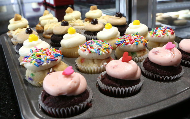 Assorted mini-cupcakes are displayed at TSP Baking on 6120 N. Decatur Blvd. on Thursday, Dec. 22, 2016, in Las Vegas. (Bizuayehu Tesfaye/Las Vegas Review-Journal)@bizutesfaye