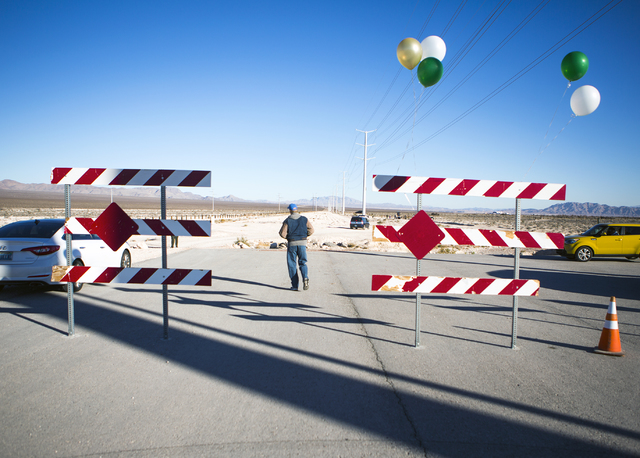 A man walks on Grand Teton Drive toward the news conference Monday, Dec. 19, 2016, to announce the first trail at the Tule Springs Fossil Beds National Monument. (Jeff Scheid/Las Vegas Review-Jour ...