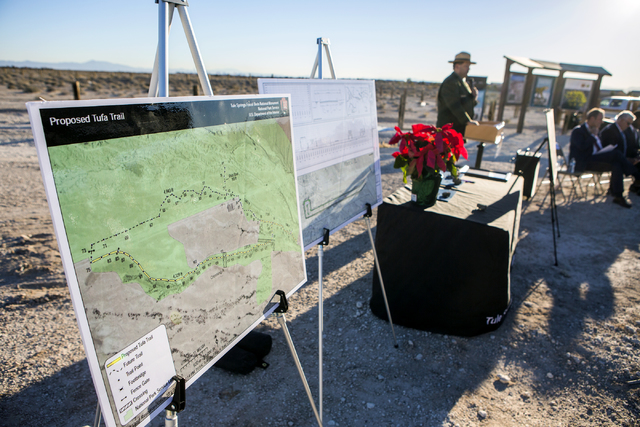 National Park Service superintendent Jon Burpee speaks during a news conference announcing a deal to create the  first trail at the Tule Springs Fossil Beds National Monument on Monday, Dec. 19, 2 ...