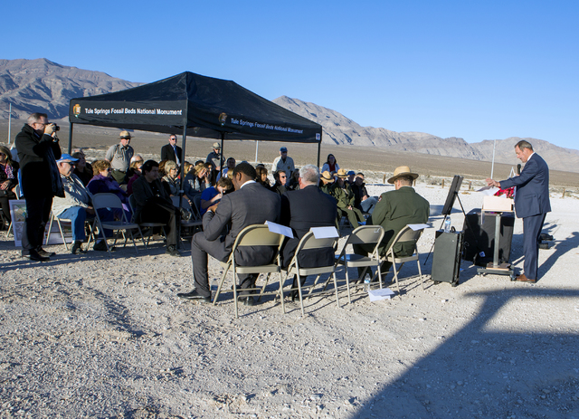 North Las Vegas Mayor John Lee speaks during a news conference announcing a deal to create the first trail at the Tule Springs Fossil Beds National Monument on Monday, Dec. 19, 2016. (Jeff Scheid/ ...