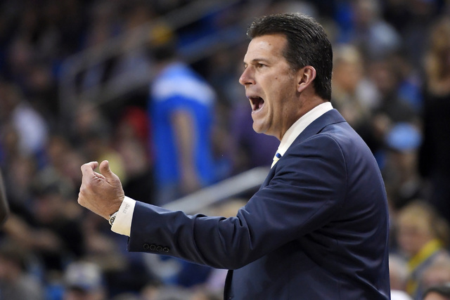 UCLA head coach Steve Alford yells to his team during the first half of an NCAA college basketball game against UC Santa Barbara, Wednesday, Dec. 14, 2016, in Los Angeles. (Mark J. Terrill/AP)