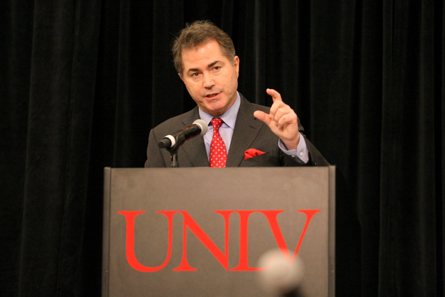 UNLV President Len Jessup addresses about 500 members of UNLV at a town hall meeting Thursday, March 12, 2015. (Michael Quine/Las Vegas Review-Journal)