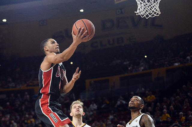 UNLV Rebels guard Jalen Poyser (5) goes up for a layup against the Arizona State Sun Devils during the second half at Wells-Fargo Arena. The Sun Devils won 97-73. (Joe Camporeale-USA TODAY Sports)