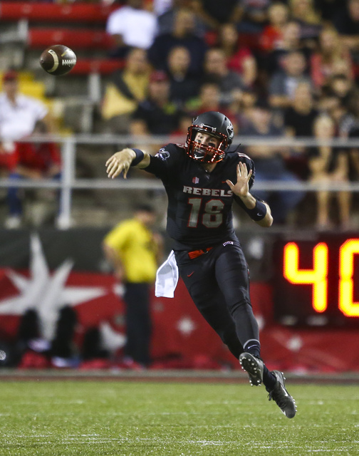 UNLV quarterback Dalton Sneed (18) throws a pass during a football game against Fresno State at Sam Boyd Stadium in Las Vegas on Saturday, Oct. 1, 2016. (Chase Stevens/Las Vegas Review-Journal) Fo ...